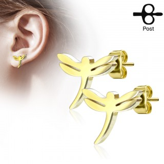 Set of ear studs with dragonfly