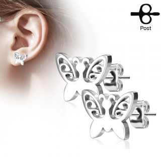 Pair of ear studs with little butterfly
