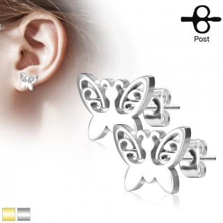 Small butterfly decorated earrings