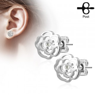 Set of ear studs with rose and jewel
