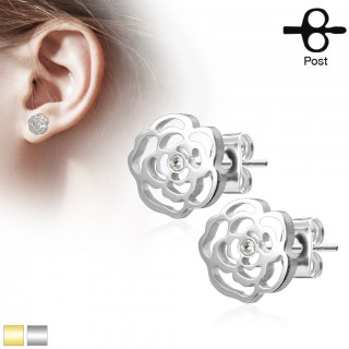 Crystalised rose decorated earrings