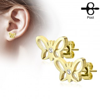 Pair of ear piercings with butterfly and clear diamond