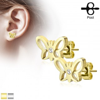 Earrings with butterfy and white jewel