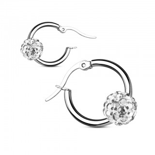 Hooped earrings with coloured gems of crystal