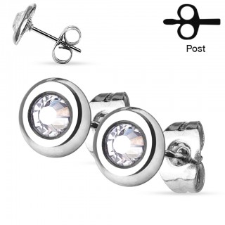 Earrings with clear gemmed disks