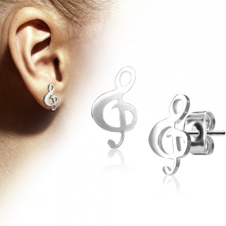 Coloured earrings with musical treble clef