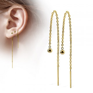 Chained ear drop set with beads