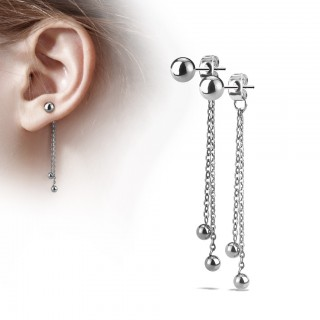 Chained earrings with dangling beads