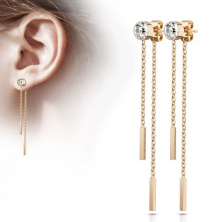 Pair of ear studs with falling chains and crystal