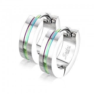 Pair of brushed surface hooped earrings with coloured stripe