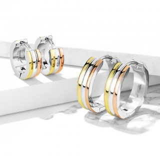 Pair hoops with three coloured stripes