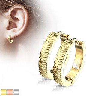 Pair of grooved arc hooped earrings