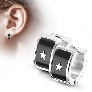 Pair of shining star on black background steel hooped earrings