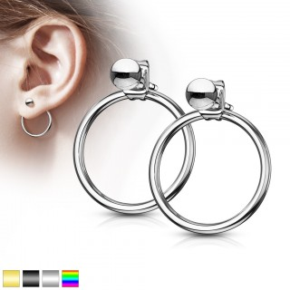 Pair of coloured ear studs with ring dangle