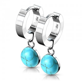Pair of dangling stone hinged earrings