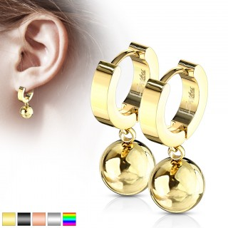 Pair of hinged hooped earrings with dangling decorative ball