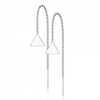 Pair of coloured threader earrings with solid triangle