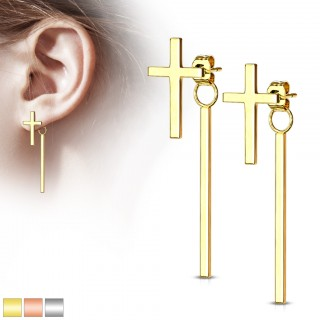 Pair of long stud earrings with dangling bar and cross