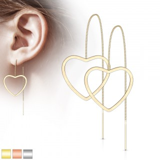 Pair of coloured threader earrings with open heart