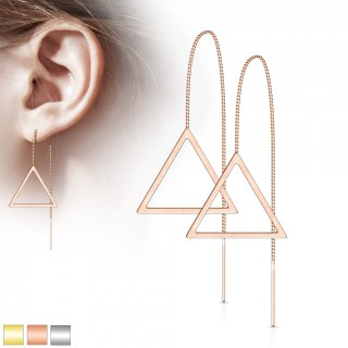 Pair of coloured threader earrings with open triangle
