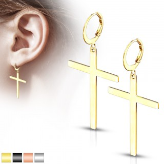 Pair of steel hooped earrings with cross shaped dangle