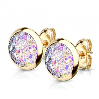 Pair of ear studs with round druzy stone