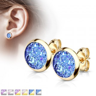 Pair ear studs with round druzy stone