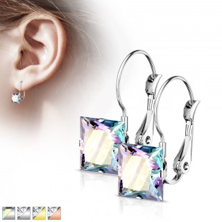 Pair of square crystal earrings with lever back
