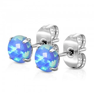 Pair of ear studs with prong set opal stone