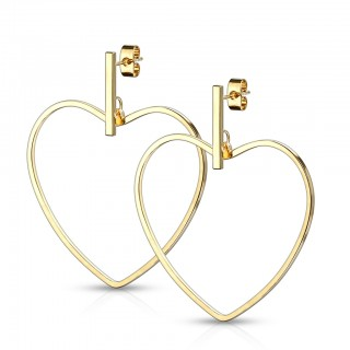 Pair of coloured ear studs with bar and dangling heart