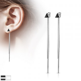 Pair of ear studs with enamel triangle and chain dangles