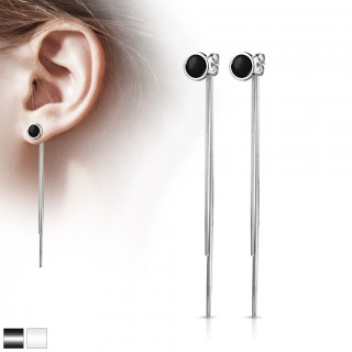 Pair of ear studs with enamel circle and chain dangles