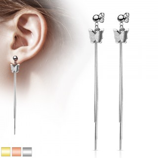 Pair of ear studs with butterfly and chain dangles