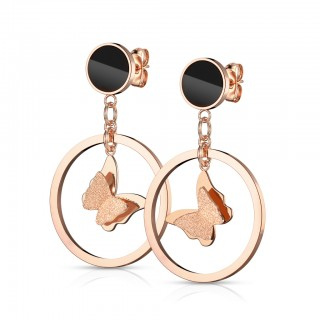Pair of ear studs with butterfly in circle