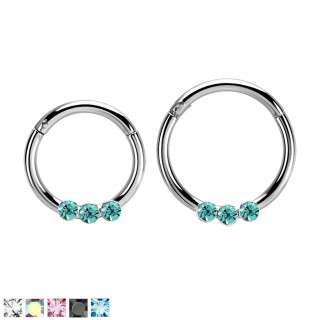 Segment ring with attached segment and 3 coloured crystals