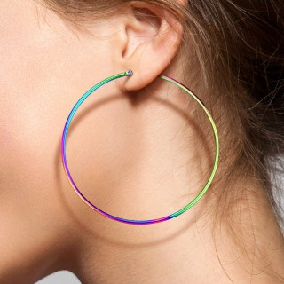 Pair rainbow coloured round ear hoops in 14 lengths