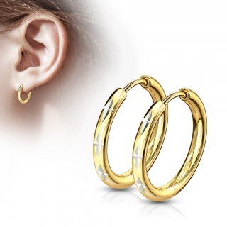 Pair of thin cross cut gold hinged hooped earrings
