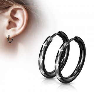 Pair of thin cross cut black hinged hooped earrings