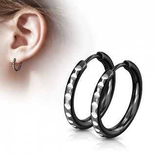 Pair of thin rounded cut black hooped earrings