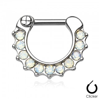 Surgical steel septum piercing clicker with jewel
