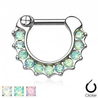 Steel septum clicker with gems