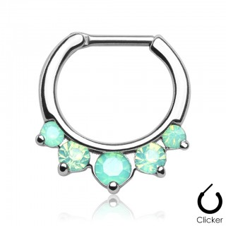 Surgical steel septum ring with five gems