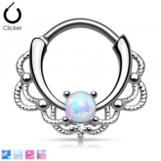 Septum ring with encased opal stone
