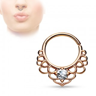 Bendable septum/cartilage ring with filigrane lotus motive