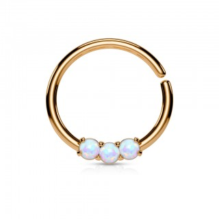 Piercing hoop with three opal jewels