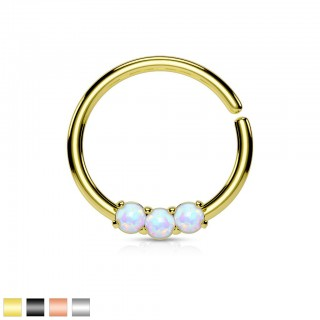 Coloured piercing ring with three opal crystals
