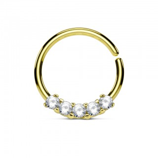 Coloured piercing ring with five diamonds