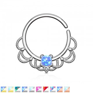 Hooped coloured piercing with filigree and coloured opal gem