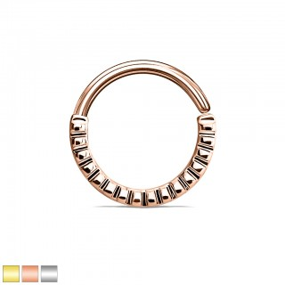 Coloured piercing ring with grooved half circle