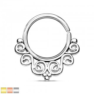 Coloured piercing ring with graceful curves